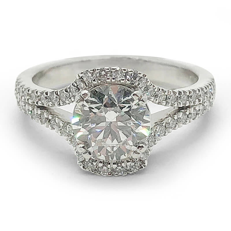 Ideal Cut Split Shank Diamond Ring
