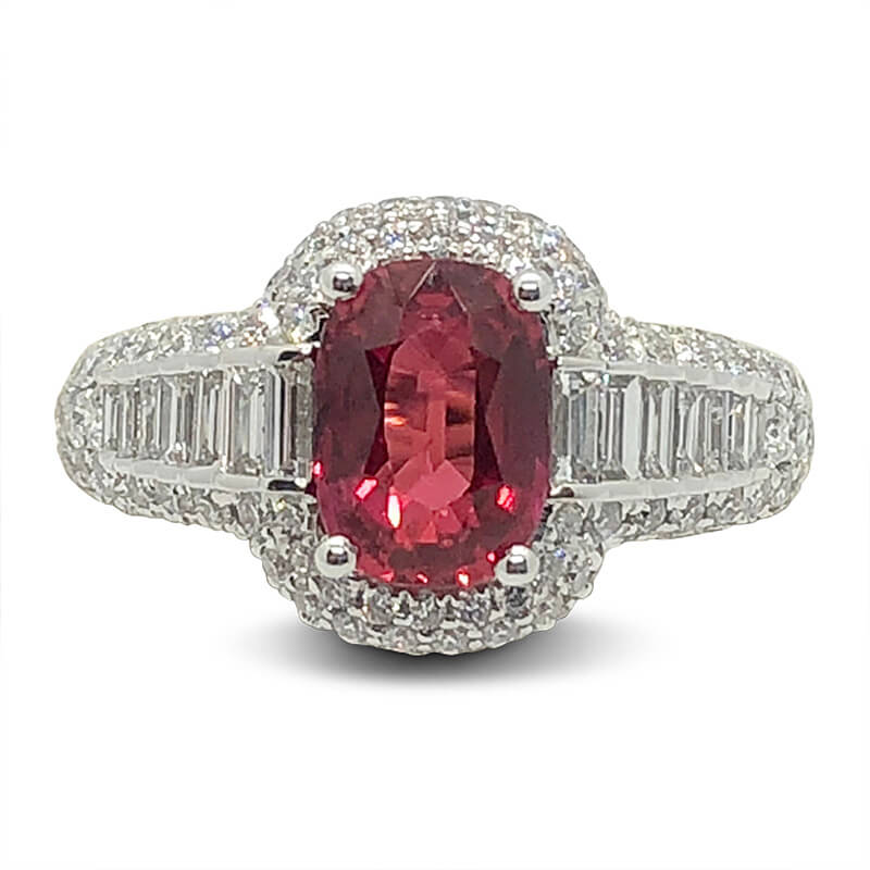 Ruby & Graduated Baguette Diamond Ring