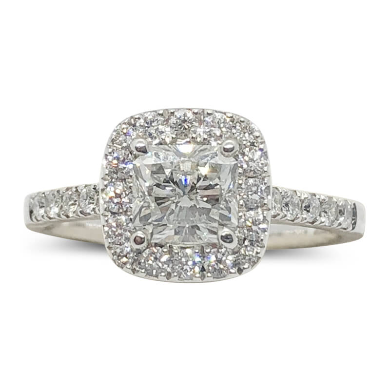 Square Radiant Cut Diamond Halo Ring