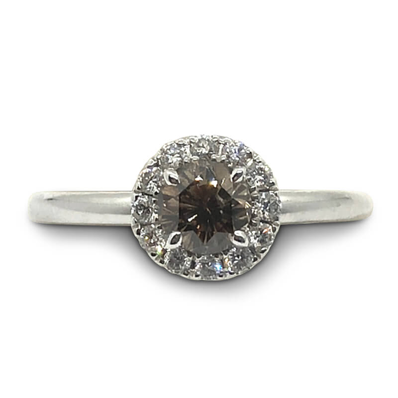 18kt. White Gold Brown Diamond Ring