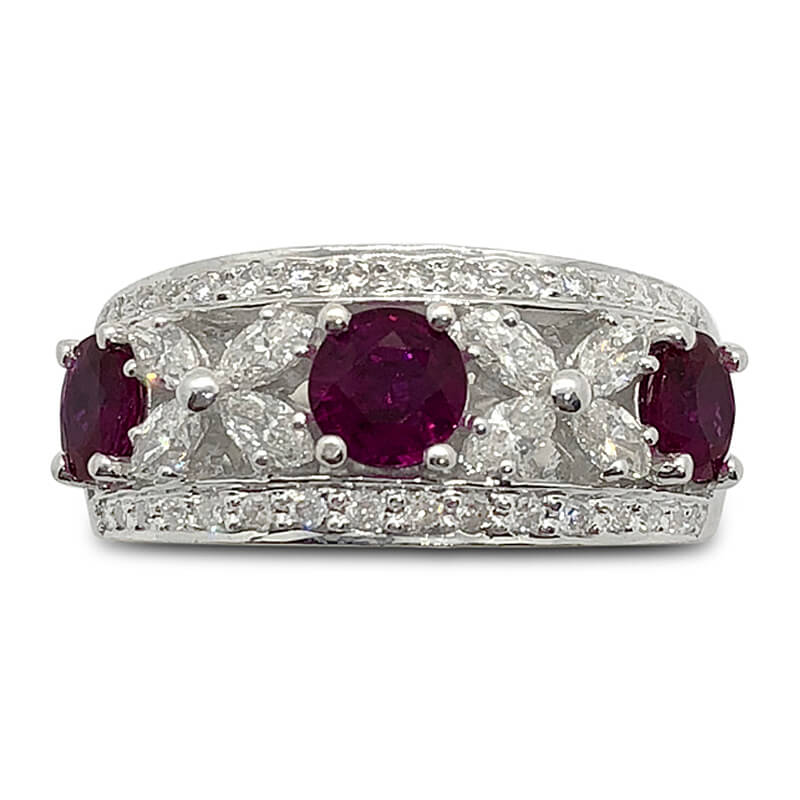 Marquise Diamond & Ruby Band