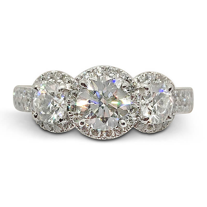 Three Ideal Cut Diamond Ring