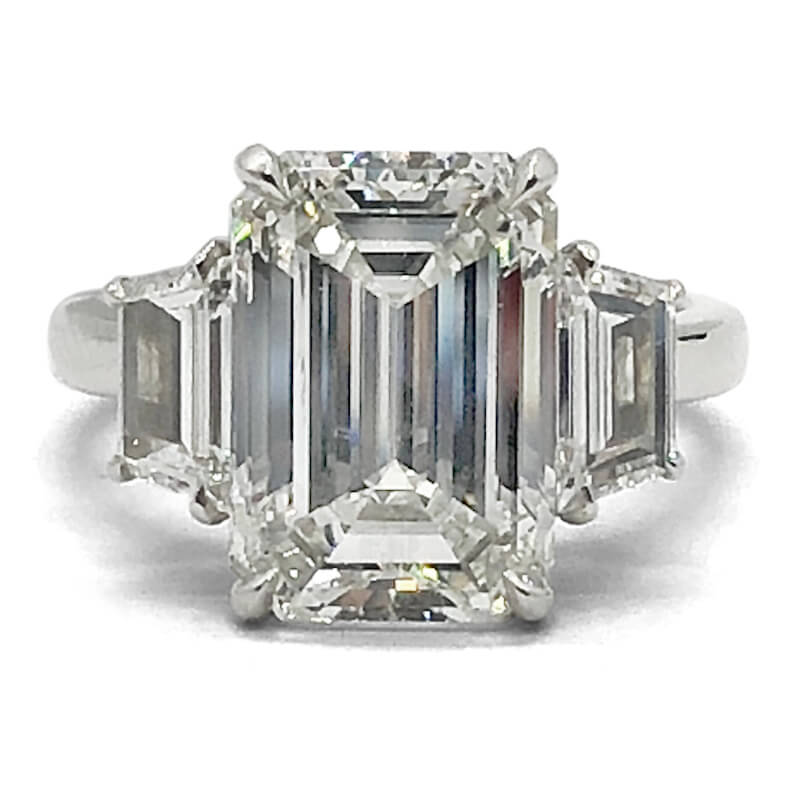 6.50ct. Emerald Cut Diamond Engagement Ring