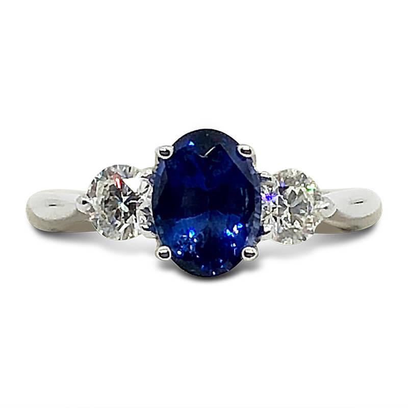 Trellis Style Sapphire & Diamond Ring