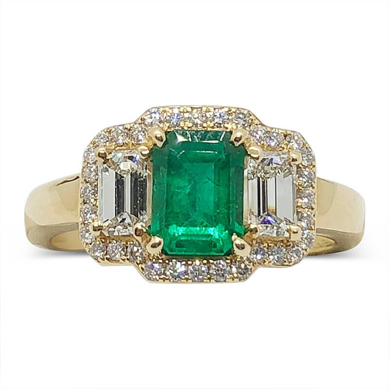 Zambian Emerald & Diamond Ring