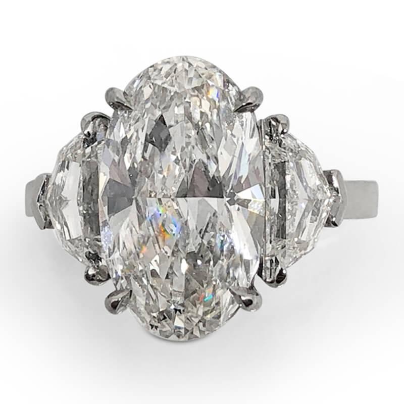 Large Oval Cut Platinum Ring