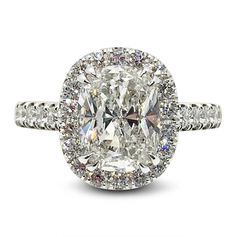Three Carat Cushion Cut Diamond Halo Ring