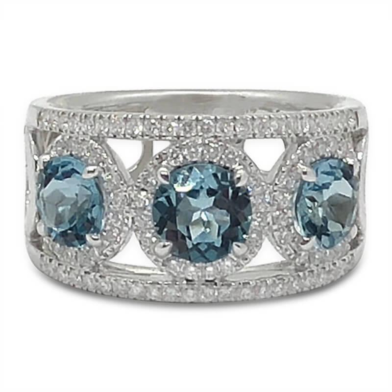 Three Blue Topaz & Diamond Ring
