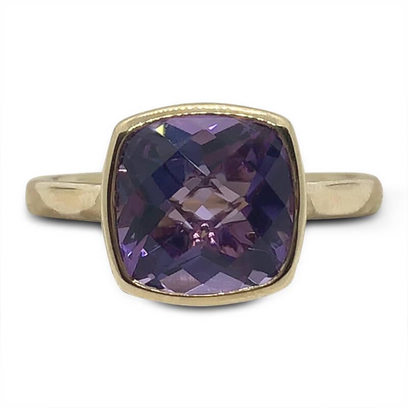 Bezel Set Solitaire Amethyst Ring