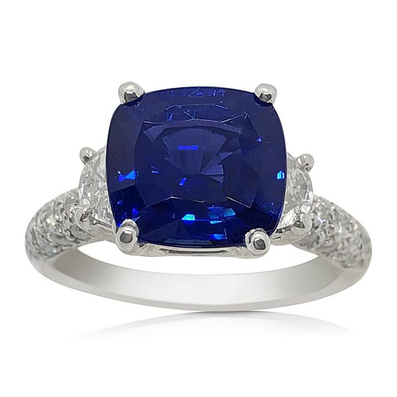 Peacock Blue Sapphire & Diamond Ring