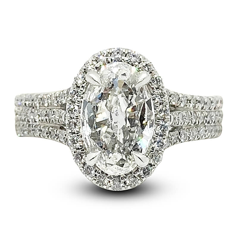 Oval Diamond Halo Triple Shank Ring
