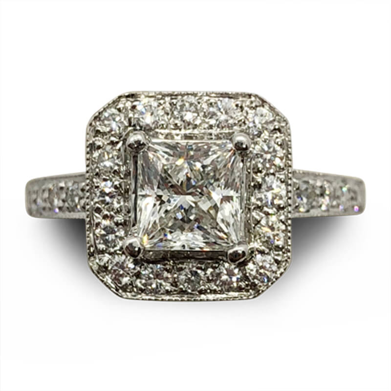 One Carat Princess Cut Halo Ring