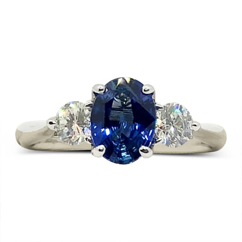 Fine Blue Sapphire & Diamond Ring