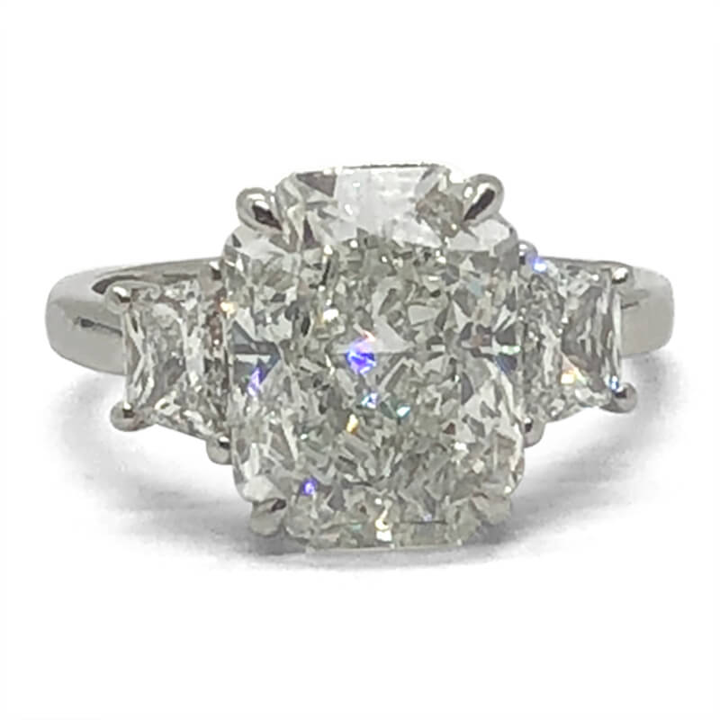 Platinum Radiant Diamond Three Stone Ring