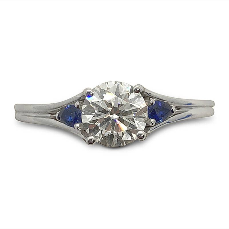 Round Diamond & Sapphire Ring