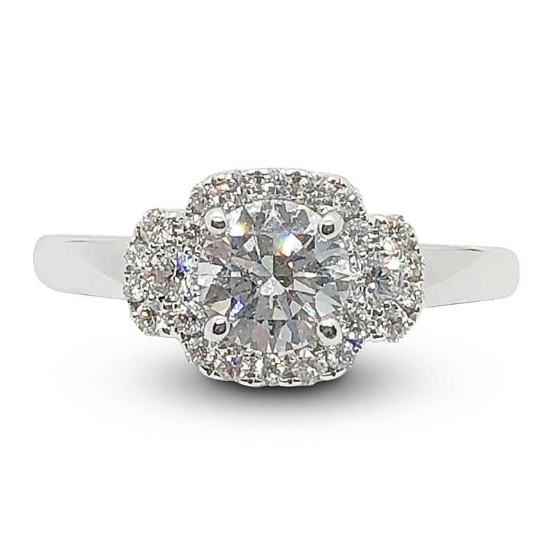 Triple Diamond Halo Engagement Ring