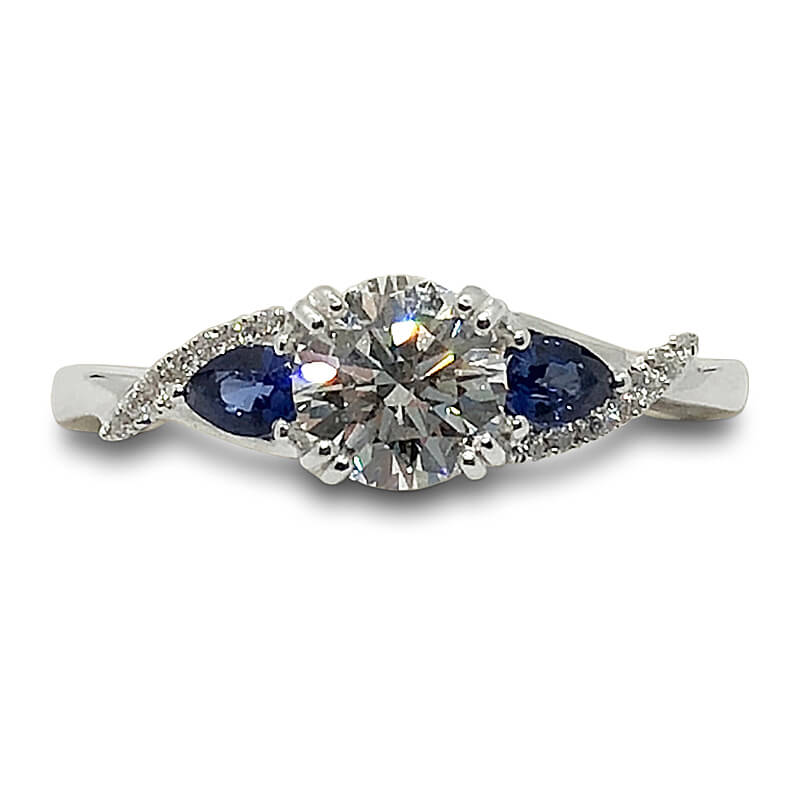 Diamond & Sapphire Twisted Diamond Ring
