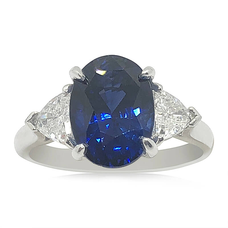 Sapphire & Trilliant Diamond Handmade Ring