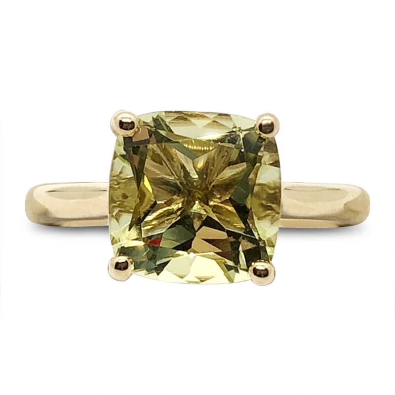 Lemon Citrine Solitaire Ring