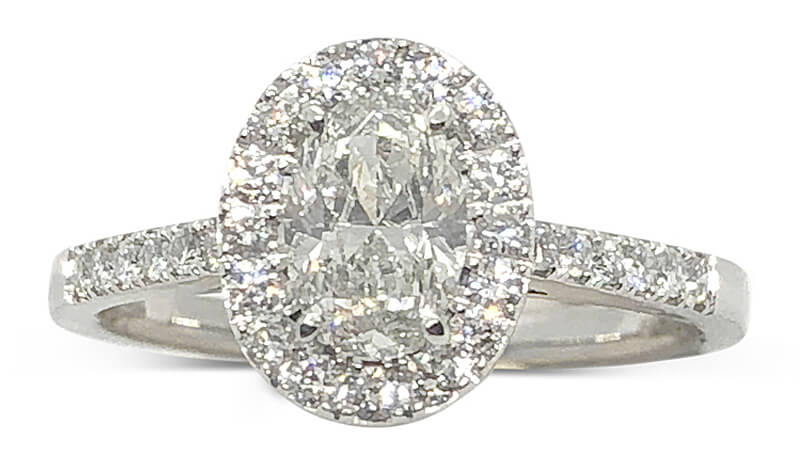 Platinum Oval Diamond Halo Ring