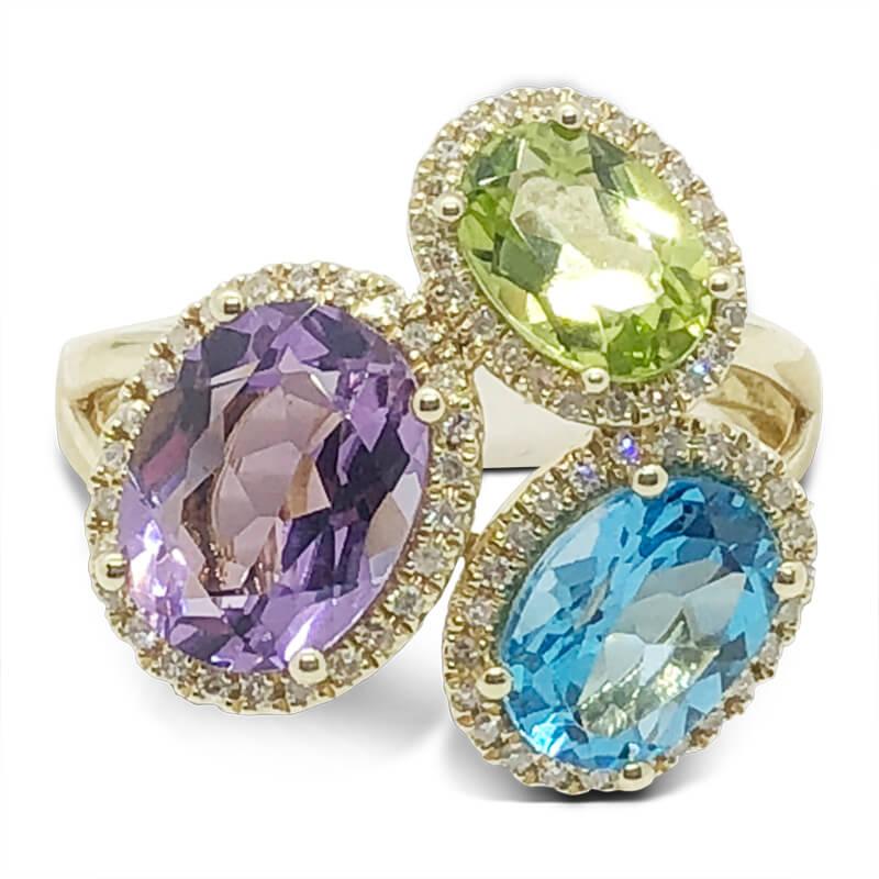 Amethyst, Blue Topaz & Peridot Ring