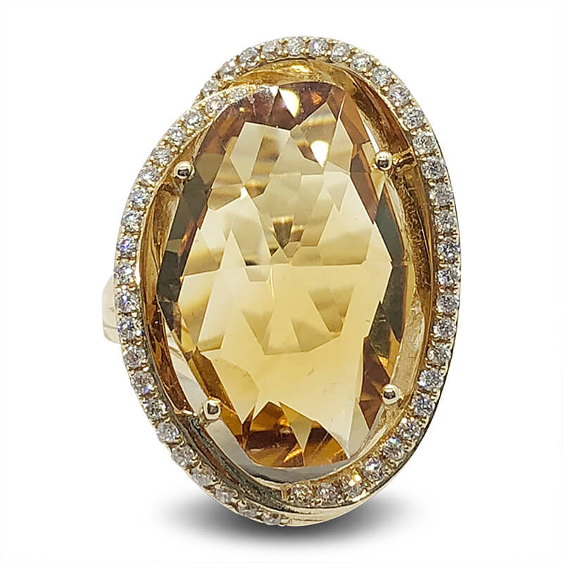 Large Oval Citrine & Diamond Ring