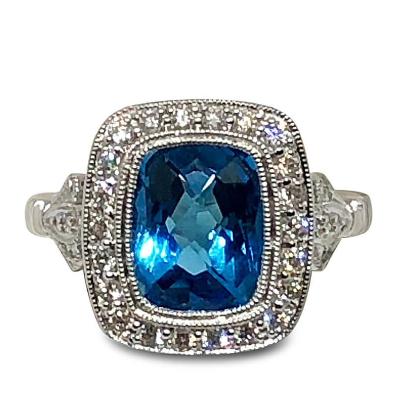 Blue Topaz & White Gold Ring