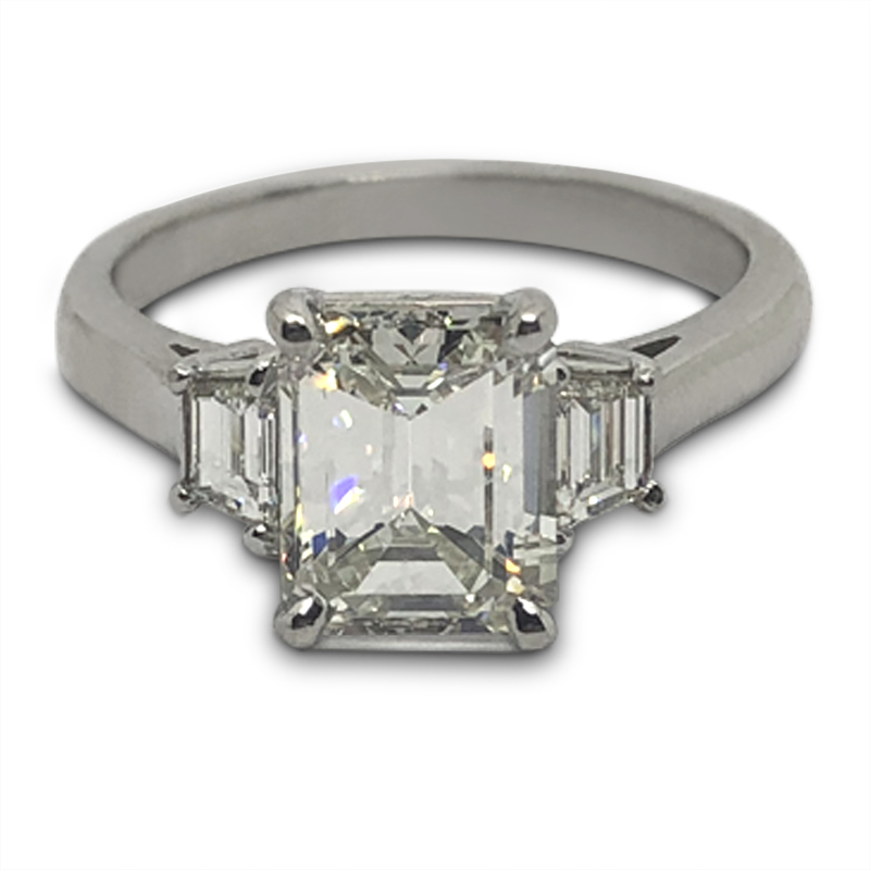 2.16ct. Emerald Cut Three Stone Ring