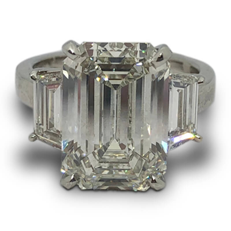 7.58ct. Three Stone Emerald Cut Ring