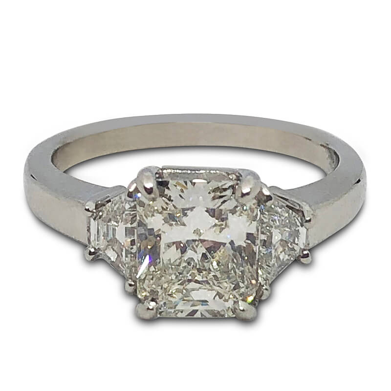 2.05ct. Radiant Cut Three Stone Ring