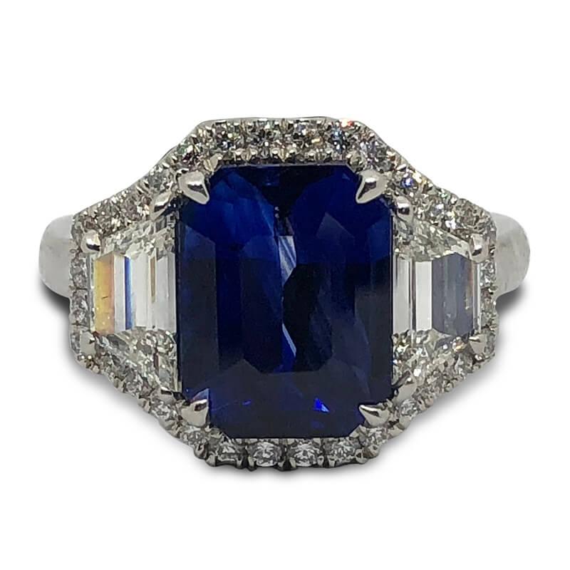 4.43ct. Emerald Cut Sapphire Ring