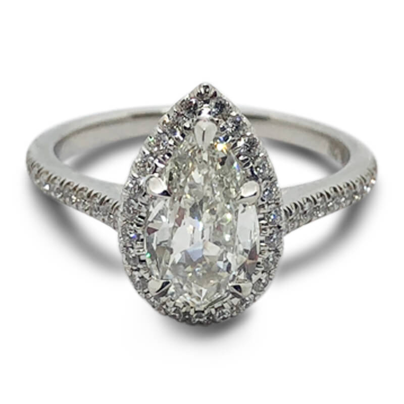 1.01ct. Pear Shaped Halo Ring