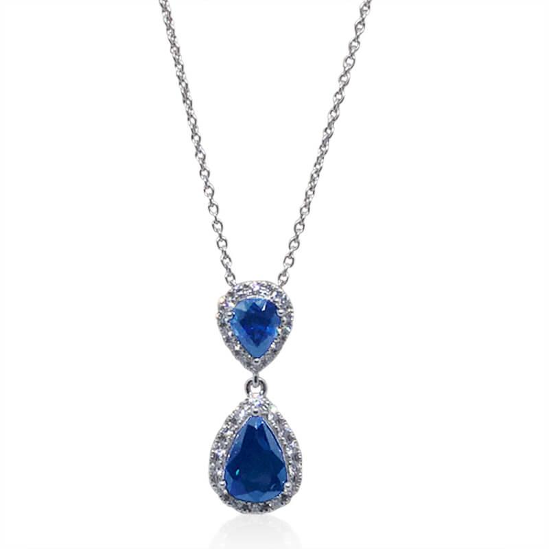 Sapphire & Diamond Teardrop Necklace