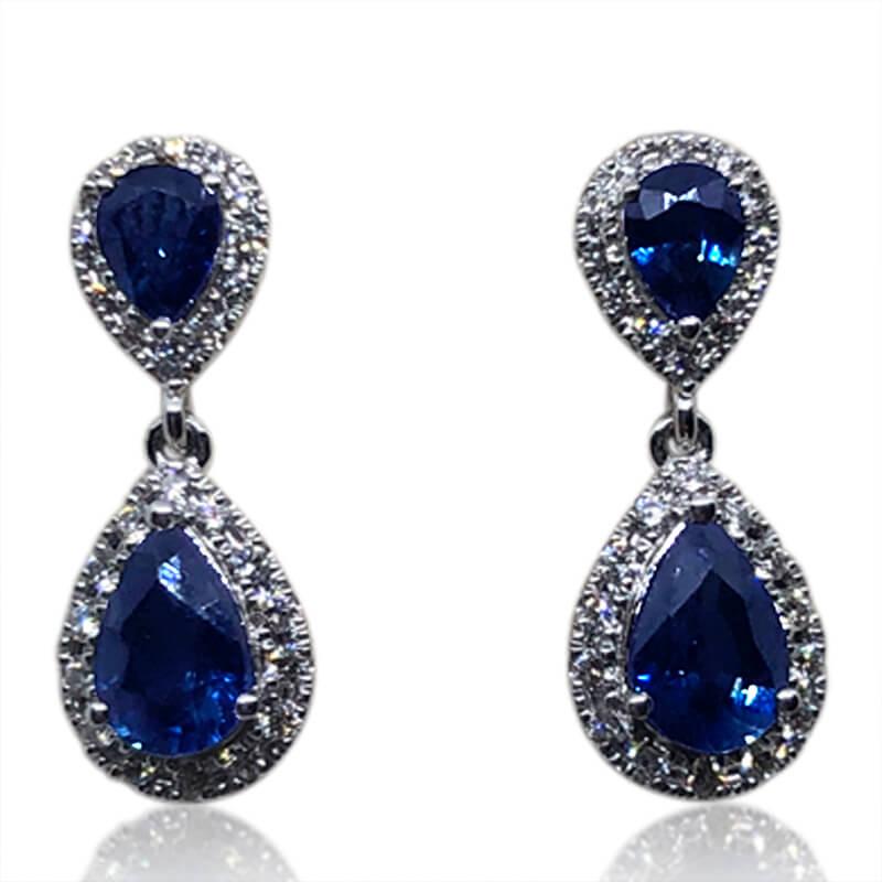 Sapphire & Diamond Teardrop Earrings