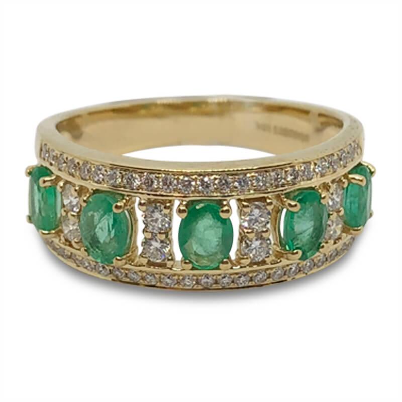 Oval Emerald & Diamond Ring