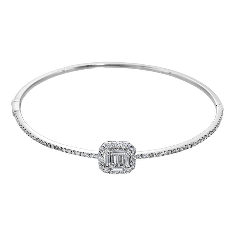 Baguette Halo Diamond Bracelet