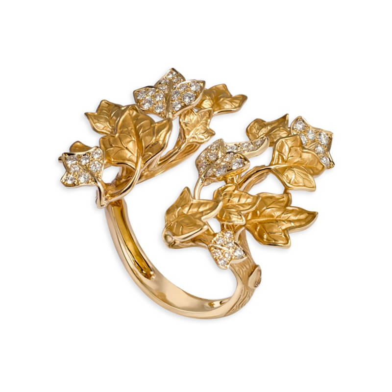 Open Verona Leaf Ring