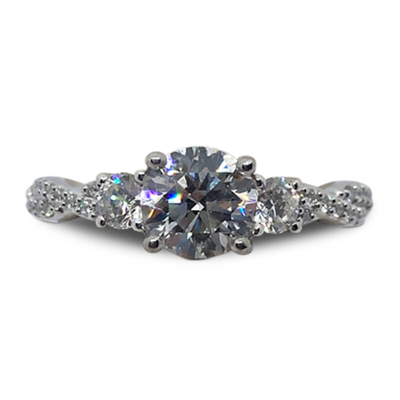 1.60ctw. Three Stone Engagement Ring