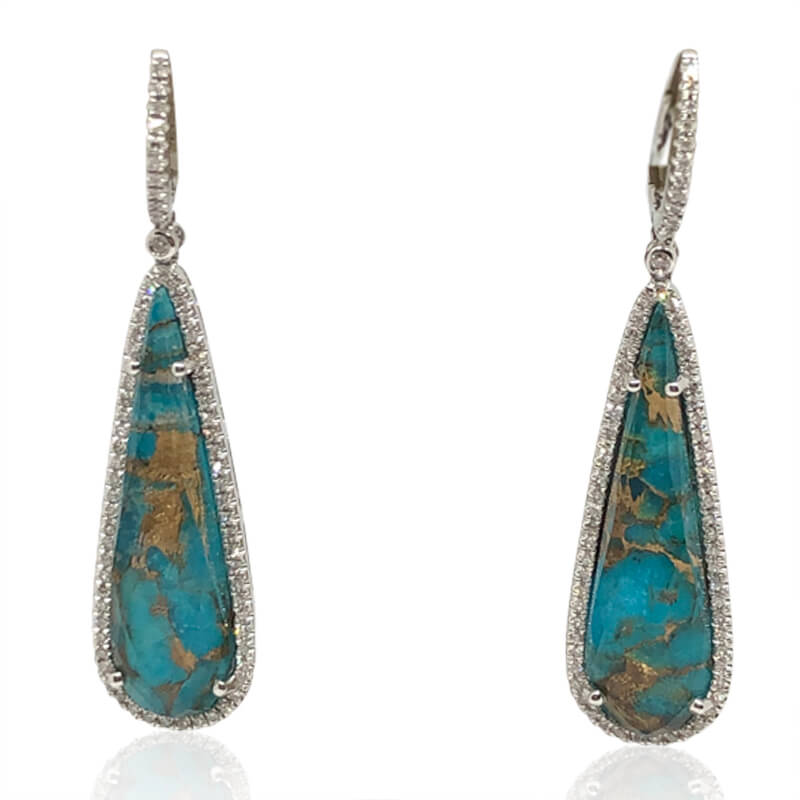 Turquoise, Quartz & Diamond Earrings