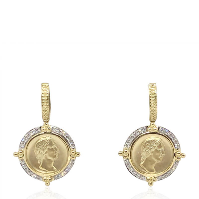 Diamond Coin Earrings