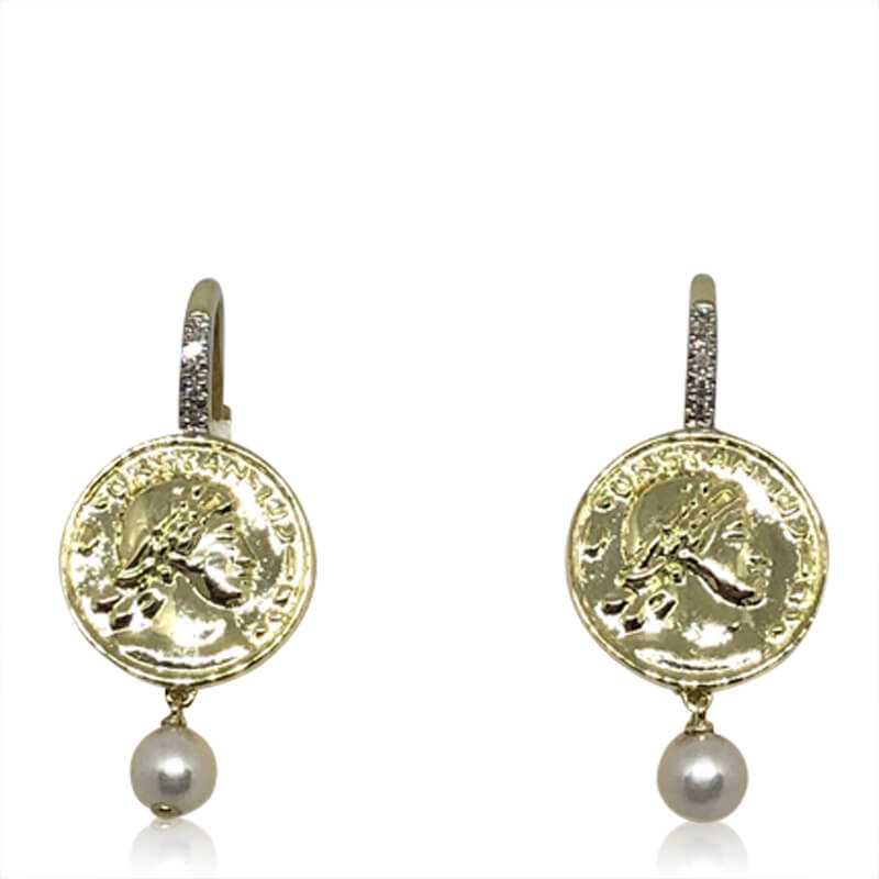 Roman Coin Drop Earrings