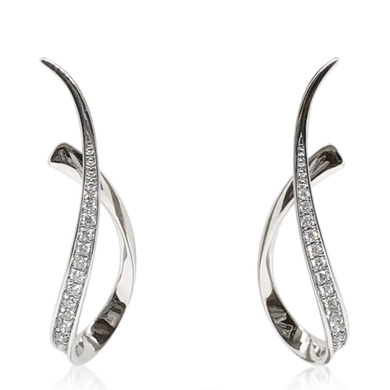 Diamond Drop Swirl Earrings