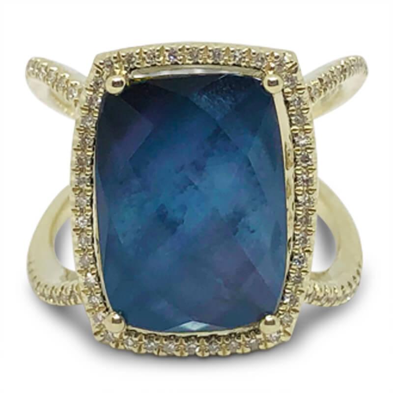 Moonstone & Onyx Ring