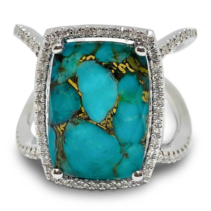 Turquoise, Quartz & Diamond Ring