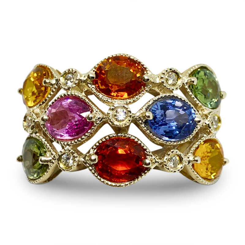 Multi Colored Sapphire Ring