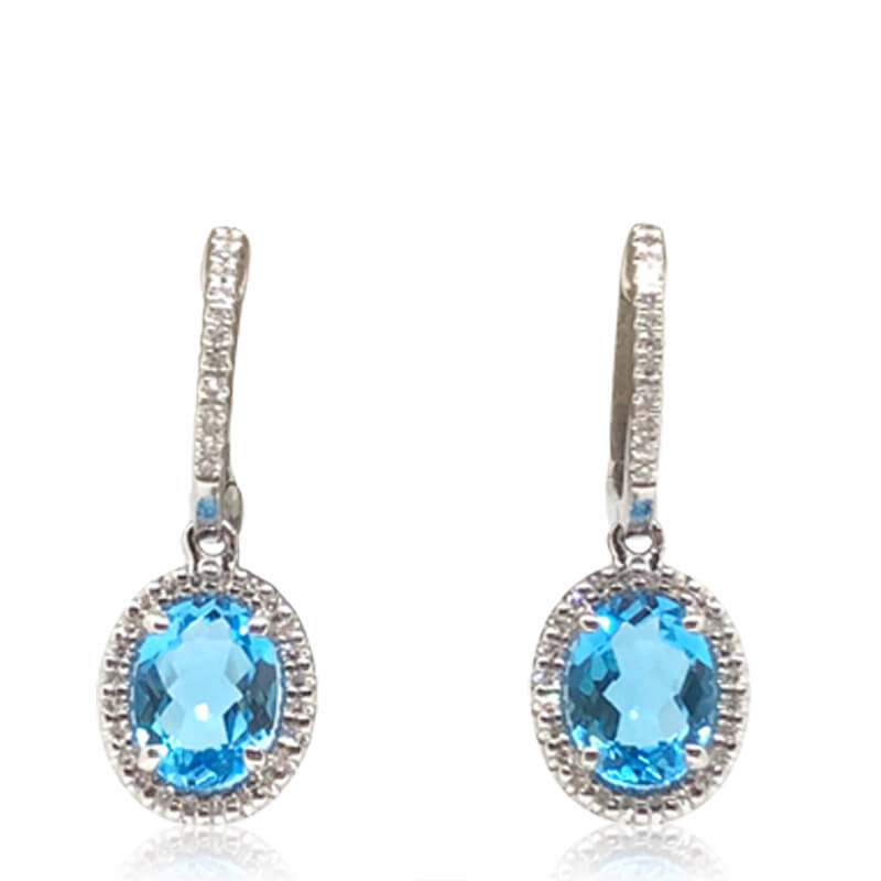 Oval Blue Topaz Drop Earrings