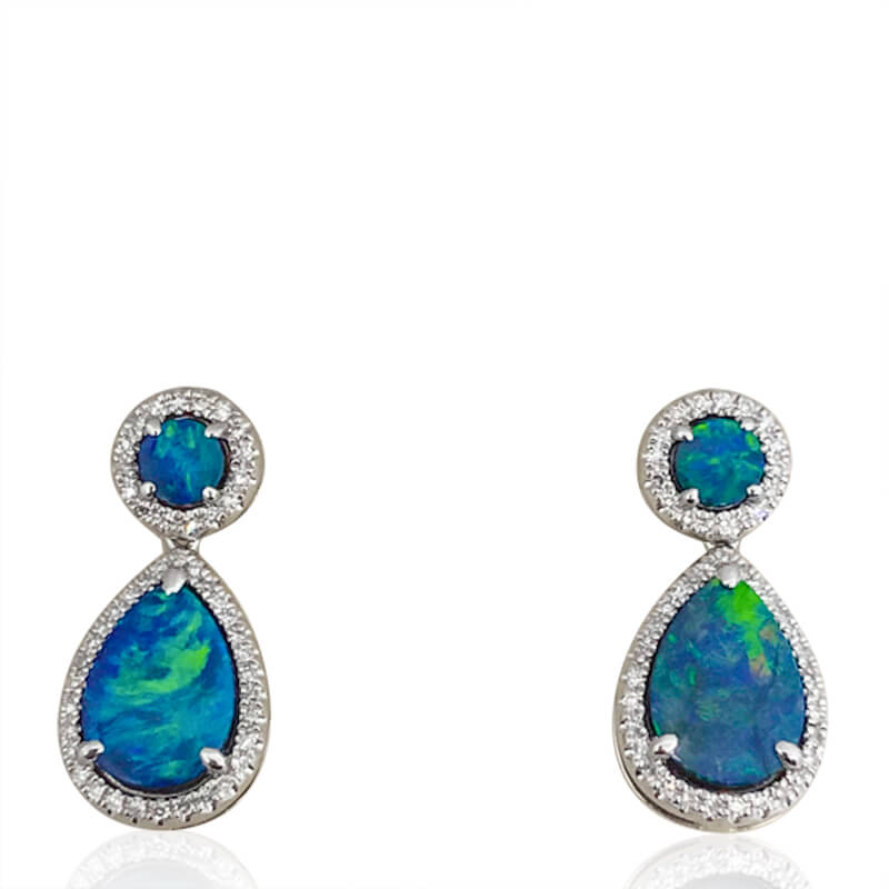 Black Opal Teardrop Earrings