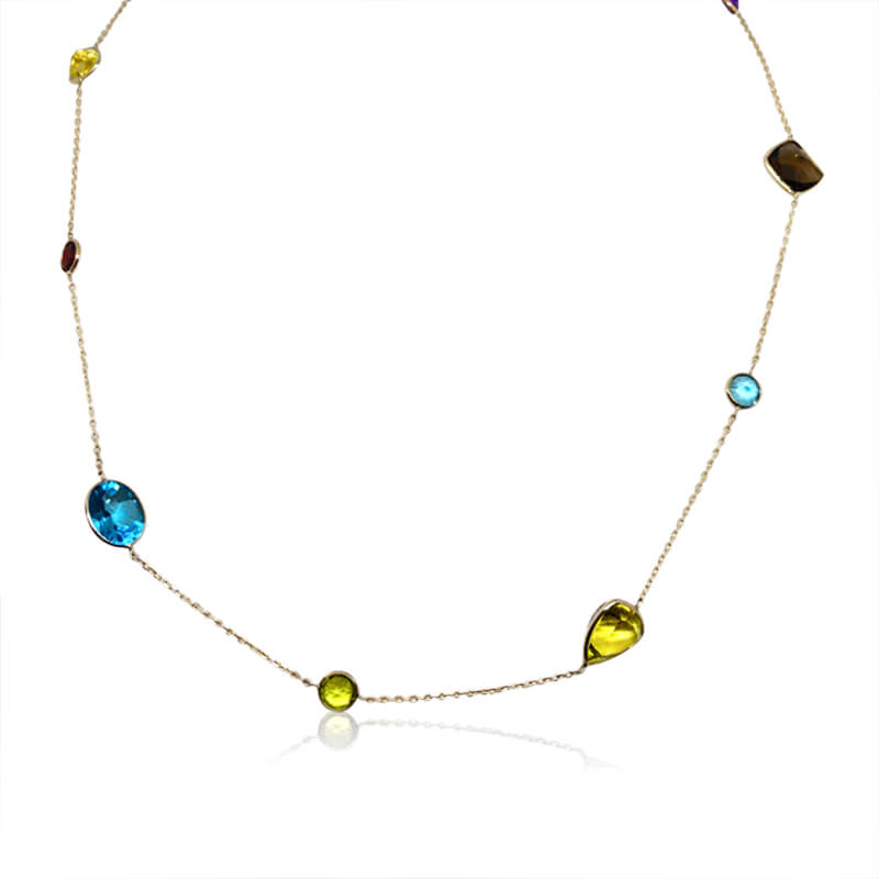 "36"" Multi Gemstone Necklace"
