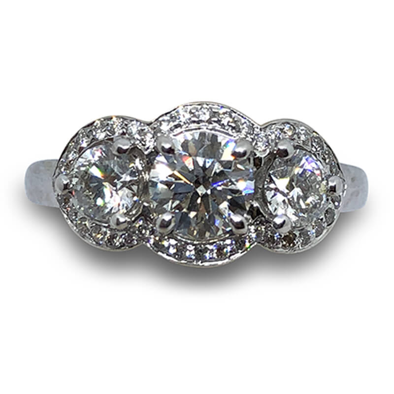 1.31ctw Three Stone Forevermark Ring
