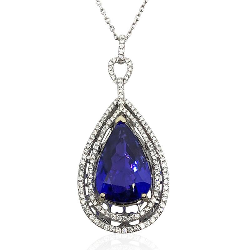 13.10ct. Tanzaninte & Diamond Pendant